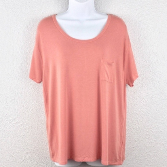 Tops - New Women Short Sleeve Softest Crew T-Shirt Coral